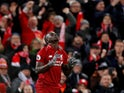 Liverpool forward Sadio Mane celebrates scoring the opener during their Premier League clash with Leicester City on January 30, 2019