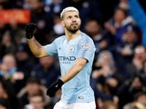 Manchester City striker Sergio Aguero celebrates opening the scoring against Arsenal on February 3, 2019