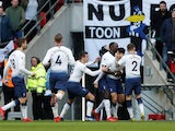 Tottenham's Son Heung-min celebrates with teammates after against Newcastle on February 2, 2019