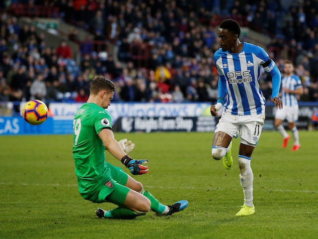 Adama Diakhaby sees a shot saved by Arsenal's Bernd Leno moments before Huddersfield Town's goal in the Premier League on February 9, 2019.