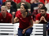 Great Britain Fed Cup captain Anne Keothavong celebrates on February 9, 2019