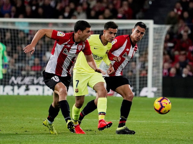 Barcelona's Philippe Coutinho in action against Athletic Bilbao in La Liga on February 10, 2019