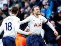 Tottenham Hotspur midfielder Christian Eriksen celebrates scoring against Leicester on February 10, 2019