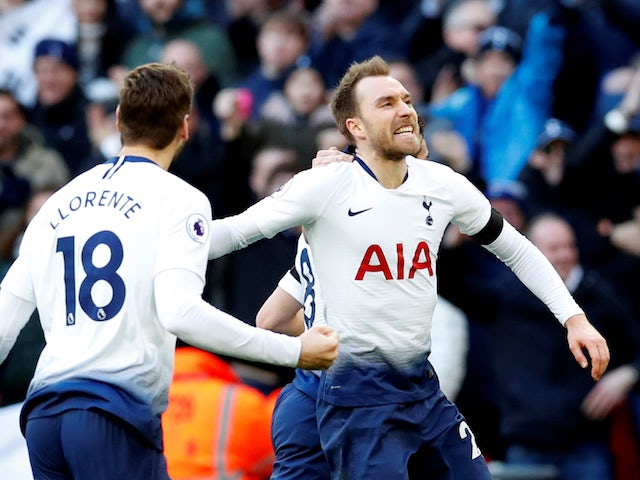 Tottenham Hotspur midfielder Christian Eriksen celebrates scoring against Leicester on February 10, 2019