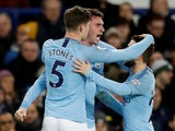 Manchester City celebrate taking the lead against Everton in the Premier League on February 6, 2019.