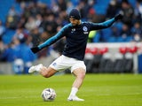 Florin Andone warms up for Brighton on January 26, 2019