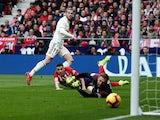 Real Madrid's Gareth Bale scores against Atletico Madrid in La Liga on February 9, 2019.