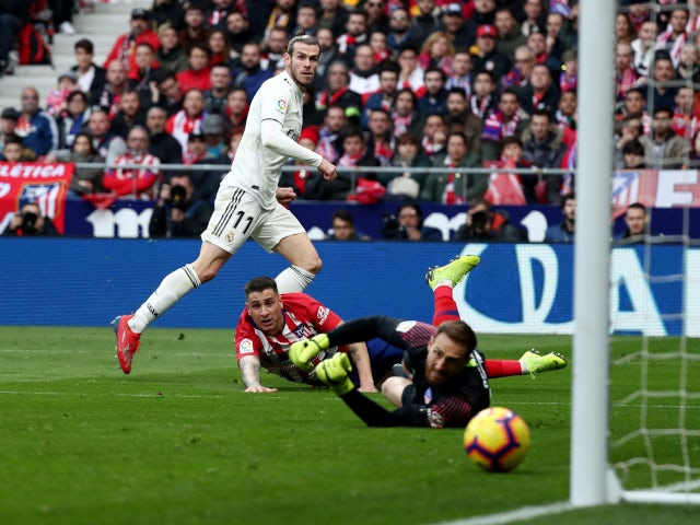 Real Madrid's Gareth Bale scores against Atletico Madrid in La Liga on February 9, 2019.