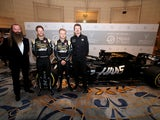 William Storey poses at the Haas and Rich Energy launch for F1 on February 7, 2019