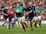 Ireland's Joey Carbery races clear during the Six Nations clash with Scotland on February 9, 2019
