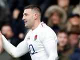England wing Jonny May celebrates after scoring against France on February 10, 2019