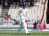 Keaton Jennings departs after being dismissed for England against West Indies on February 9, 2019