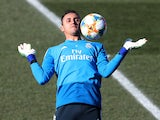 A non-committal Keylor Navas during a Real Madrid training session on February 5, 2019