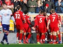 Liverpool players celebrate Sadio Mane's opening goal against Bournemouth on February 9, 2019