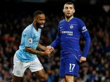 Raheem Sterling celebrates his second goal and Manchester City's sixth in the Premier League meeting with Chelsea on February 10, 2019