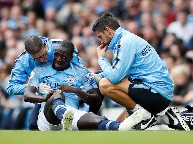 Benjamin Mendy receiving treatment in October 2018