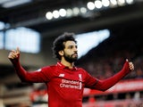 Liverpool forward Mohamed Salah celebrates scoring against Bournemouth on February 9, 2019