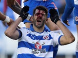 Reading's Nelson Oliveira sustains a head injury during a Championship match in February 2019