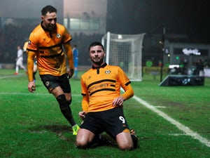 Newport County's Padraig Amond celebrates scoring their second goal against Middlesbrough in the FA Cup on February 5, 2019