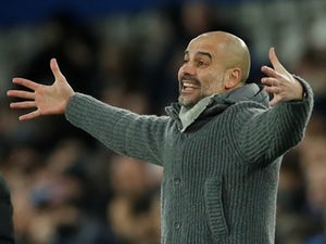 Manchester City manager Pep Guardiola watches on against Everton in the Premier League on February 6, 2019