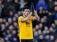 Wolves striker Raul Jimenez applauds himself on February 2, 2019