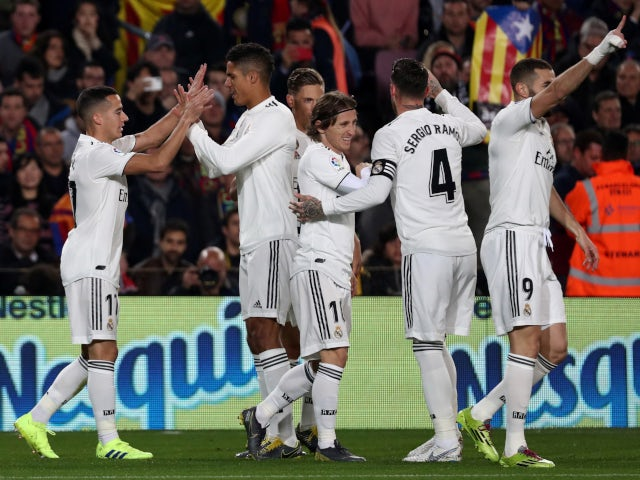Lucas Vazquez leads the Real Madrid celebrations after opening the scoring against Barcelona on February 6, 2019