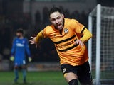 Newport County's Robbie Willmott celebrates scoring their first goal in the FA Cup fourth round replay with Middlesbrough on February 5, 2019