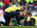 Ireland fly-half Johnny Sexton receives treatment for a head injury during the Six Nations match against Scotland on February 9, 2019