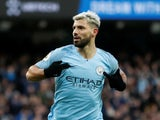 Manchester City striker Sergio Aguero celebrates his first goal against Chelsea on February 10, 2019