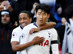 Tottenham Hotspur forward Son Heung-min celebrates scoring during his side's Premier League clash with Leicester City on February 10, 2019
