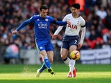Leicester City's Ben Chilwell battles with Son Heung-min of Tottenham Hotspur in their Premier League clash on February 9, 2019