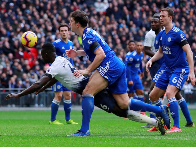 Tottenham Hotspur defender Davinson Sanchez scores the opening goal against Leicester City on February 10, 2019