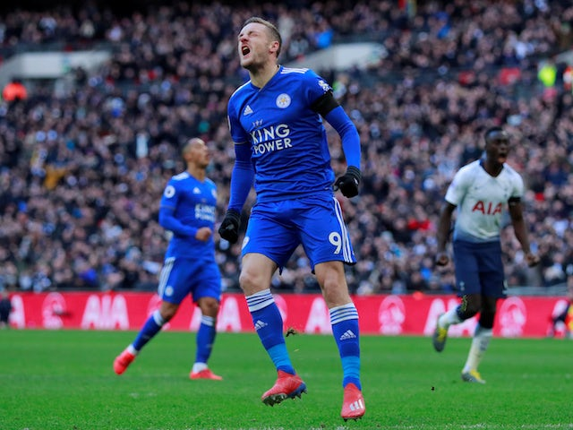 Leicester City attacker Jamie Vardy reacts to missing a penalty against Tottenham Hotspur on February 10, 2019