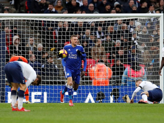 Leicester City striker Jamie Vardy celebrates scoring against Tottenham Hotspur on February 10, 2019
