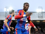 Crystal Palace attacker Wilfried Zaha celebrates scoring against West Ham on February 9, 2019