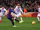 Lionel Messi opens the scoring from the penalty spot for Barcelona in their La Liga meeting with Real Valladolid on February 16, 2019