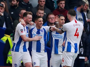 Brighton players celebrate scoring against Derby in the FA Cup on february 16, 2019