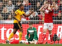 Wolverhampton Wanderers' Ivan Cavaleiro celebrates scoring against Bristol City in the FA Cup on February 17, 2019