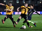 Manchester City's David Silva tries to get a shot away in the FA Cup tie against Newport County on February 16, 2019.