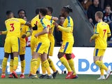 Crystal Palace players celebrate scoring against Doncaster Rovers in the FA Cup on February 17, 2019