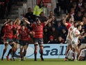 Gloucester Rugby players celebrate beating Exeter Chiefs on February 15, 2019