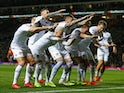 Leeds United players celebrate scoring against Swansea on February 13, 2019