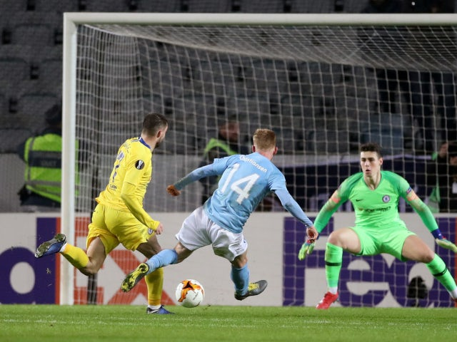 Anders Christiansen scores for Malmo against Chelsea in the Europa League on February 14, 2019.