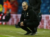 Leeds boss Marcelo Bielsa pops a squat on February 13, 2019