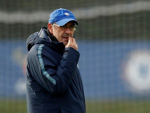 Maurizio Sarri during a Chelsea press conference on February 13, 2019