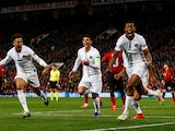 Paris Saint-Germain defender Presnel Kimpembe celebrates scoring the opener against Manchester United on February 12, 2019