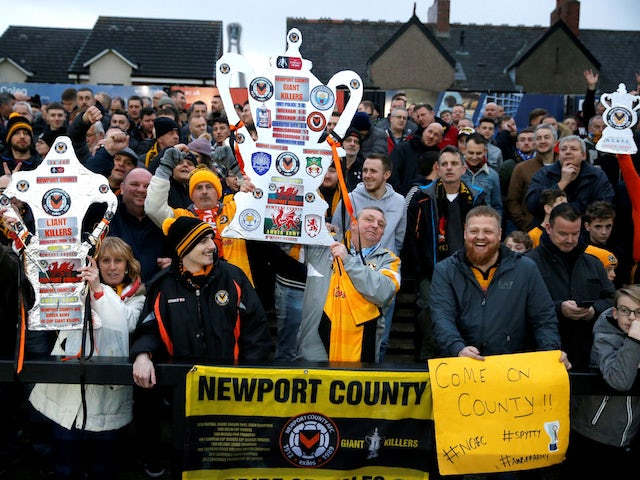 Newport County fans ahead of their FA Cup fifth-round tie against Manchester City on February 16, 2019.