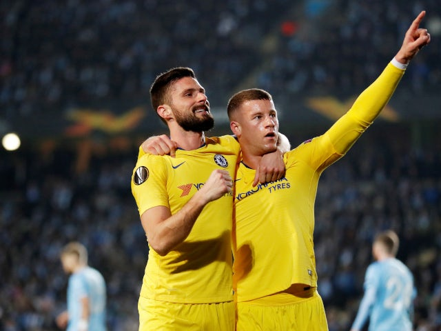 Olivier Giroud and Ross Barkley celebrate Chelsea's opening goal against Malmo in the Europa League on February 14, 2019.