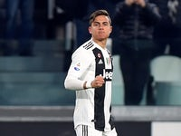 Juventus forward Paulo Dybala celebrates scoring against Frosinone on February 15, 2019