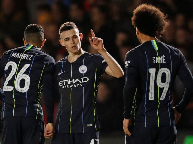 Manchester City's Phil Foden celebrates their third goal in the FA Cup against Newport County on February 16, 2019.